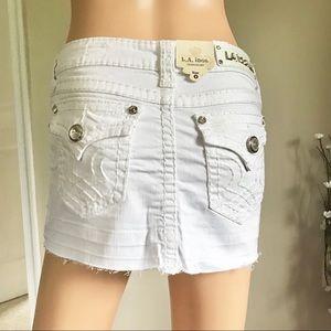 L.A. IDOL Jeweled White Denim Jean Mini Skirt Sz M